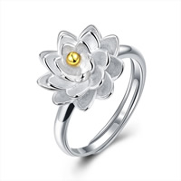comeon® Finger Ring, 925 Sterling Silver, Flower, plated, adjustable, US Ring Size:8, Sold By PC