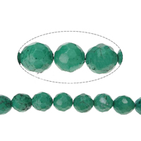 Dyed Natural Turquoise Beads, Round, different size for choice & faceted, green, Hole:Approx 1-1.5mm, Sold By Strand