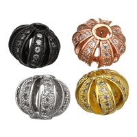 Cubic Zirconia Micro Pave Brass Beads, Lantern, plated, micro pave cubic zirconia, more colors for choice, 8.5x10.5x10.5mm, Hole:Approx 2.5mm, Sold By PC
