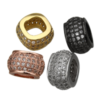 Cubic Zirconia Micro Pave Brass European Bead, plated, micro pave cubic zirconia & without troll, more colors for choice, 7x11x10.5mm, Hole:Approx 6x6mm, Sold By PC