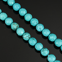 Dyed Natural Turquoise Beads, Dyed Turquoise, Round, more sizes for choice & faceted, green, Hole:Approx 1-1.5mm, Length:Approx 15 Inch, Sold By Strand