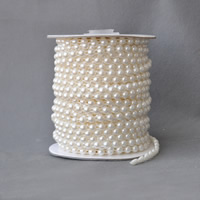 Bead Garland Strand, ABS Plastic Pearl, with plastic spool & Cardboard, Dome, beige, 6mm, 25m/Spool, Sold By Spool