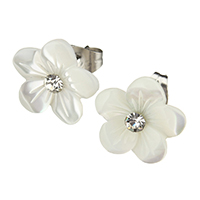 White Shell Earrings, stainless steel post pin, Flower, natural, with rhinestone, 11.5x12.5x14mm, Sold By Pair
