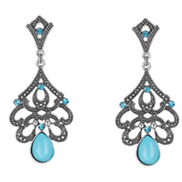 Fashion Statement Earring, Zinc Alloy, with Resin, stainless steel post pin, Flower, antique silver color plated, with rhinestone, blue, lead & cadmium free, 70x30mm, Sold By Pair
