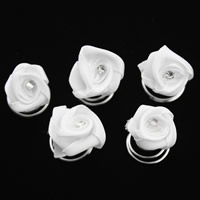 Hair Spinners, Zinc Alloy, with Satin Ribbon, Flower, platinum color plated, with rhinestone, white, lead & cadmium free, 15x16mm, 12PCs/Box, Sold By Box