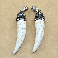 Natural White Turquoise Pendant, with brass bail & Rhinestone Clay Pave, Horn, platinum color plated, 9x37mm, Hole:Approx 3.5x8mm, Sold By PC
