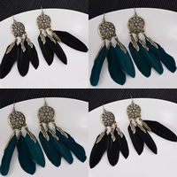 Fashion Feather Earring , Zinc Alloy, with Feather, iron earring hook, antique bronze color plated, more colors for choice, lead & cadmium free, 100mm, Sold By Pair