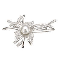 Sterling Silver Brooches, 925 Sterling Silver, with Freshwater Pearl, Flower, plated, natural & micro pave cubic zirconia, more colors for choice, 59x37x16mm, Sold By PC