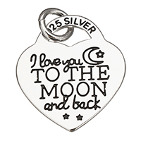 Enamel Sterling Silver Pendants, 925 Sterling Silver, Heart, word I love you to the moon and back, plated, more colors for choice, 20x23x1mm, Hole:Approx 4.5mm, Sold By PC