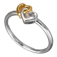 Sterling Silver Finger Ring, 925 Sterling Silver, Heart, plated, two tone, 7mm, US Ring Size:7, Sold By PC