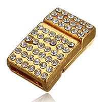 Zinc Alloy Magnetic Clasp, Rectangle, gold color plated, with rhinestone, 21x12.5x7mm, Hole:Approx 10x2.5mm, Sold By PC