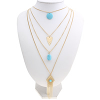 Fashion Multi Layer Necklace, Zinc Alloy, with iron chain & Resin, with 4cm extender chain, gold color plated, twist oval chain & 4-strand & with rhinestone, lead & cadmium free, 17x24x1mm, Length:Approx 15.5 Inch, Sold By Strand