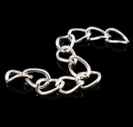 Iron Extender Chain, silver color plated, twist oval chain, lead & cadmium free, 3.5x5.5x0.6mm, 50mm, 1000Strands/Bag, Sold By Bag