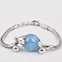 Thailand Sterling Silver Bracelet, with Aquamarine, March Birthstone & snake chain, 15mm, Length:Approx 5.9 Inch, Sold By Strand