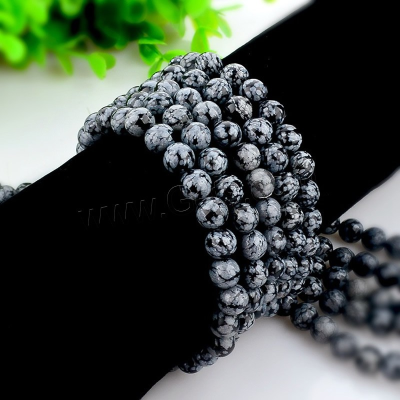 Snowflake Obsidian Bead, Round, natural, different size for choice, black, Hole:Approx 1mm, Length:Approx 15 Inch, Sold By Strand