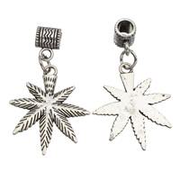 Zinc Alloy European Pendants, Marijuana Leaf, antique silver color plated, without troll, lead & cadmium free, 27x33x2mm, Hole:Approx 5mm, 20PCs/Bag, Sold By Bag
