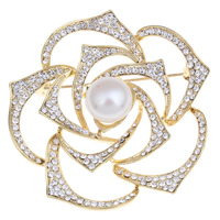 Freshwater Pearl Brooch, Brass, with Freshwater Pearl, Flower, gold color plated, natural & with rhinestone, nickel, lead & cadmium free, 11-12mm, 51x13mm, Sold By PC