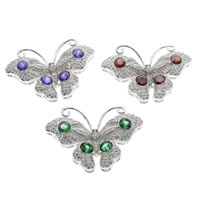Brass Costume Accessories, Butterfly, platinum color plated, micro pave cubic zirconia, more colors for choice, nickel, lead & cadmium free, 41x27x8mm, Sold By PC