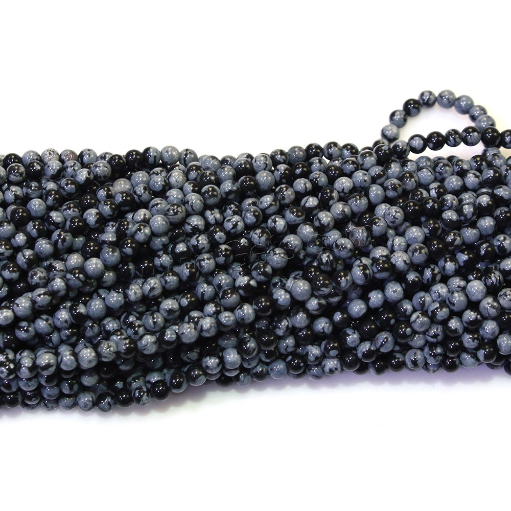 Snowflake Obsidian Bead, Round, natural, different size for choice, Hole:Approx 0.5mm, Length:Approx 16.5 Inch, Sold By Strand