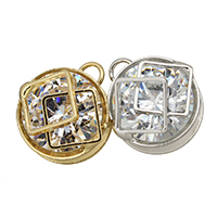 Cubic Zirconia (CZ) Zinc Alloy Pendants, plated, with cubic zirconia, more colors for choice, 14.5x16.5x10mm, Hole:Approx 3mm, Sold By PC