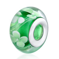 comeon® Jewelry Beads, Lampwork, Rondelle, sterling silver double core without troll, 8x14mm, Hole:Approx 5mm, Sold By PC