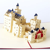 Paper 3D Greeting Card, Building, 3D effect, red, 150x200mm, Sold By PC