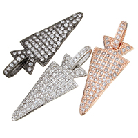 Cubic Zirconia Micro Pave Brass Pendant, plated, micro pave cubic zirconia, more colors for choice, 13x29x2mm, Hole:Approx 7x3mm, Sold By PC