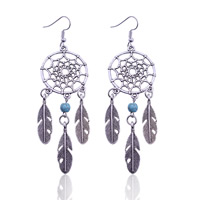 Turquoise Zinc Alloy Earring, with Synthetic Turquoise, iron earring hook, Dreamcatcher, antique silver color plated, lead & cadmium free, 28x94mm, Sold By Pair