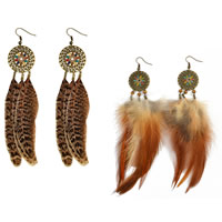 Fashion Feather Earring , Zinc Alloy, with Feather & Wood & Plastic Pearl, iron earring hook, antique bronze color plated, Bohemian style & different styles for choice & enamel & hollow, 100mm, Sold By Pair
