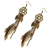 Fashion Feather Earring , Zinc Alloy, with rubber earnut & Feather & Nylon Cord & Resin, iron earring hook, antique bronze color plated, 130mm, Sold By Pair