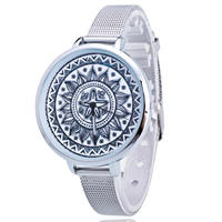 Women Wrist Watch, Zinc Alloy, with Glass, Chinese movement, stainless steel pin buckle, platinum color plated, adjustable, nickel, lead & cadmium free, 40mm, 10mm, Length:Approx 8.5 Inch, Sold By PC