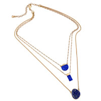 Fashion Multi Layer Necklace, Zinc Alloy, with Resin, with 3.1 lnch extender chain, gold color plated, detachable & 3-strand, 23mm, Length:Approx 16.9 Inch, Sold By Strand