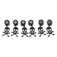 Stainless Steel Magnetic Drop Earring, with Magnetic Hematite, Skull, black ionic, mixed pattern & with painted, 11x28x5mm, 12PCs/Lot, Sold By Lot