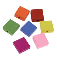 Dyed Wood Beads, Square, mixed colors, 15x6mm, Hole:Approx 1mm, 1000PCs/Bag, Sold By Bag