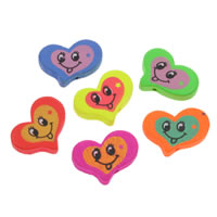 Wood Smile Face Pattern Bead, Heart, printing, mixed colors, 24x20x4mm, Hole:Approx 2mm, 1000PCs/Bag, Sold By Bag