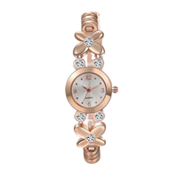 comeon® Women Jewelry Watch, Zinc Alloy, with Glass, rose gold color plated, with rhinestone, 22mm, Length:Approx 7.8 Inch, Sold By PC