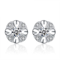 Cubic Zirconia Micro Pave Sterling Silver Earring, 925 Sterling Silver, Flower, platinum plated, micro pave cubic zirconia, 6.5x6.5mm, Sold By Pair