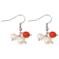 Coral Drop Earring, Natural Coral, with Freshwater Pearl, iron earring hook, platinum color plated, natural & faceted, 12x31mm, Sold By Pair