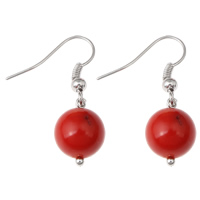 Coral Drop Earring, Natural Coral, iron earring hook, Round, platinum color plated, natural, red, 8x31mm, Sold By Pair