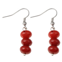 Coral Drop Earring, Natural Coral, iron earring hook, platinum color plated, natural, red, 9x40mm, Sold By Pair