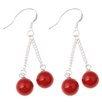 Natural Coral Dangle Earring, iron earring hook, Round, platinum color plated, red, 14x45mm, Sold By Pair