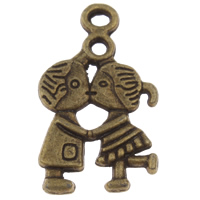 Zinc Alloy Couple Pendant, antique bronze color plated, lead & cadmium free, 16x28x3mm, Hole:Approx 2mm, Approx 400PCs/KG, Sold By KG