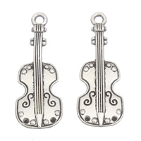 Musical Instrument Shaped Zinc Alloy Pendants, Violin, plated, more colors for choice, lead & cadmium free, 11x29x1mm, Hole:Approx 1mm, 1mm, Approx 760PCs/KG, Sold By KG