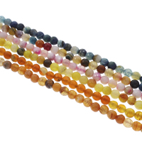 Dyed Agate Beads, Crackle Agate, Round, faceted, more colors for choice, 6mm, Hole:Approx 1mm, Length:Approx 14.5 Inch, Approx 62PCs/Strand, Sold By Strand