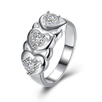 comeon® Finger Ring, Brass, Heart, real silver plated, different size for choice & micro pave cubic zirconia, Sold By PC