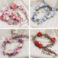 Bridal Hair Wreath, Spun Silk, with ABS Plastic Pearl & PVC Plastic, Flower, for bridal, more colors for choice, 45x45mm, Length:20.5 Inch, Sold By Strand