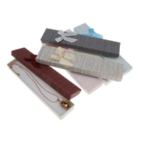 Satin Necklace Box, Cardboard, with Satin Ribbon, Rectangle, gold powder, more colors for choice, 45x250x20mm, Sold By PC
