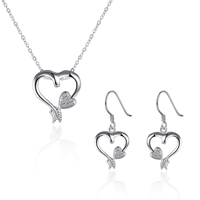 comeon® Jewelry Set, Brass, earring & necklace, Heart, real silver plated, oval chain & micro pave cubic zirconia, 15x30mm, 26x28mm, Length:Approx 17.7 Inch, Sold By Set
