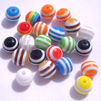 Striped Resin Beads, Round, different size for choice, mixed colors, Hole:Approx 2mm, 1000PCs/Bag, Sold By Bag