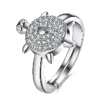 comeon® Finger Ring, Brass, Turtle, platinum plated, adjustable & for woman & with rhinestone, US Ring Size:8, Sold By PC